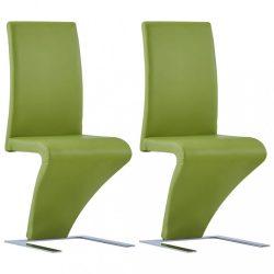 2 db zöld cikcakkos műbőr étkezőszék