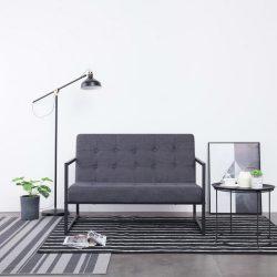 kétszemélyes sötétszürke acél és szövet karfás kanapé