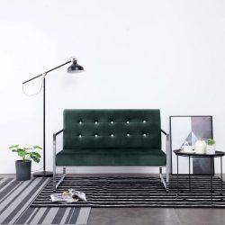 kétszemélyes sötétzöld króm és bársony karfás kanapé