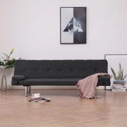 sötétszürke poliészter kanapéágy két párnával