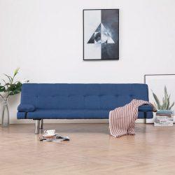 kék poliészter kanapéágy két párnával