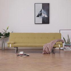 zöld poliészter kanapéágy két párnával