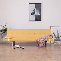 sárga poliészter kanapéágy két párnával