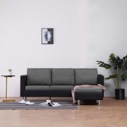 háromszemélyes fekete műbőr kanapé párnákkal