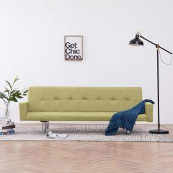 zöld poliészter kárpitozású karfás kanapéágy