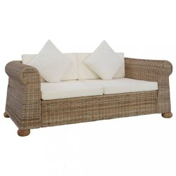 kétszemélyes természetes rattan kanapé párnákkal