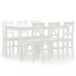 7 darabos fehér fenyőfa étkezőgarnitúra