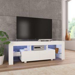 magasfényű fehér TV-szekrény LED-lámpákkal 130 x 35 x 45 cm