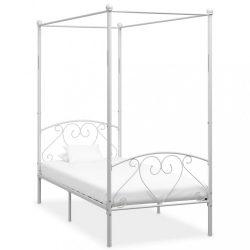 fehér fém baldachinos ágykeret 100 x 200 cm