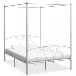 fehér fém baldachinos ágykeret 160 x 200 cm