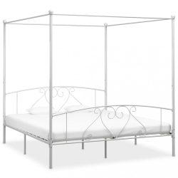 fehér fém baldachinos ágykeret 180 x 200 cm