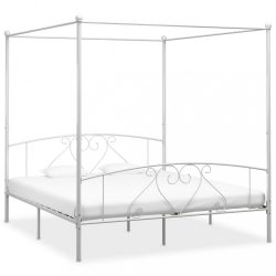 fehér fém baldachinos ágykeret 200 x 200 cm