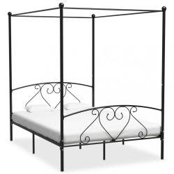 fekete fém baldachinos ágykeret 160 x 200 cm