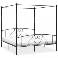 fekete fém baldachinos ágykeret 200 x 200 cm