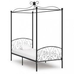 fekete fém baldachinos ágykeret 90 x 200 cm