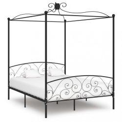 fekete fém baldachinos ágykeret 180 x 200 cm