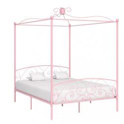rózsaszín fém baldachinos ágykeret 160 x 200 cm