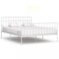 fehér fém ágykeret lécezett ágyráccsal 200 x 200 cm
