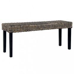 fekete természetes kubu rattan és tömör mangófa pad 110 cm