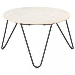 fehér márvány textúrájú valódi kő dohányzóasztal 65x65x42 cm