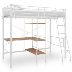 fehér fém emeletes ágykeret asztallal 90 x 200 cm
