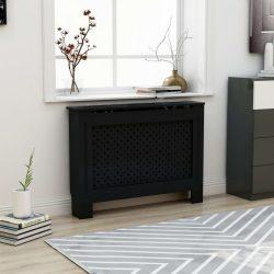 fekete MDF radiátorburkolat 112 x 19 x 81 cm