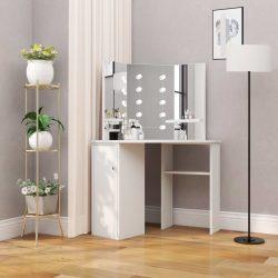 fehér sarok-fésülködőasztal LED-izzókkal