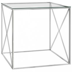 ezüstszínű üveg és rozsdamentes acél dohányzóasztal 55x55x55 cm