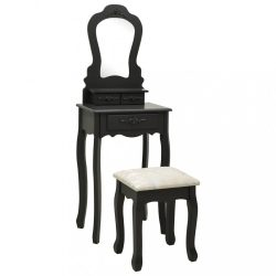 fekete császárfa fésülködőasztal-szett ülőkével 50x59x136 cm