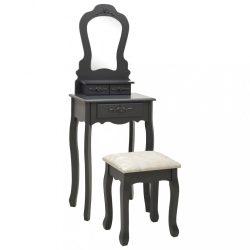 szürke császárfa fésülködőasztal-szett ülőkével 50x59x136 cm