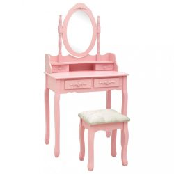 rózsaszín császárfa fésülködőasztal-szett ülőkével 75x69x140 cm