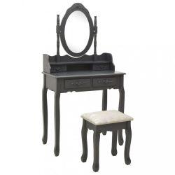szürke császárfa fésülködőasztal-szett ülőkével 75x69x140 cm