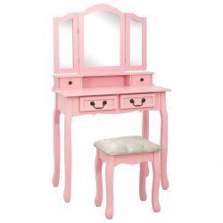 rózsaszín császárfa fésülködőasztal-szett ülőkével 80x69x141 cm