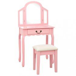 rózsaszín császárfa MDF fésülködőasztal ülőkével 65x36x128 cm