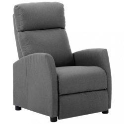 világosszürke szövetkárpitozású dönthető fotel