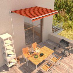 narancssárga és barna kézzel kihúzható napellenző 300 x 250 cm