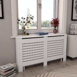 2 db fehér MDF radiátorburkolat 152 x 19 x 81,5 cm