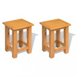 2 db tömör tölgyfa kisasztal 27 x 24 x 37 cm