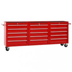 15 fiókos piros acél szerszámos kocsi