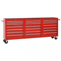 21 fiókos piros acél szerszámos kocsi