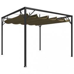 tópszínű kerti pavilon behúzható tetővel 3 x 3 m 180 g/m?