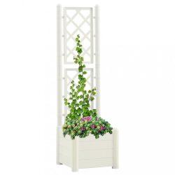 fehér polipropilén rácsos kerti ültető 43 x 43 x 142 cm
