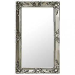 ezüstszínű barokk stílusú fali tükör 50 x 80 cm