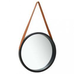 fekete fali tükör szíjjal 50 cm