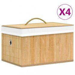 4 db bambusz tárolódoboz