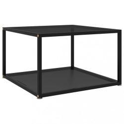 fekete edzett üveg teázóasztal 60 x 60 x 35 cm