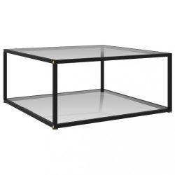 átlátszó edzett üveg teázóasztal 80 x 80 x 35 cm