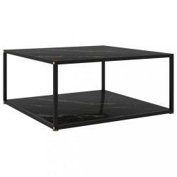 fekete edzett üveg teázóasztal 80 x 80 x 35 cm