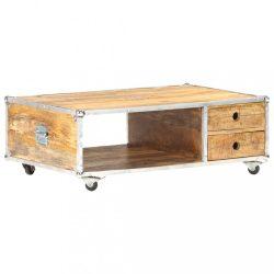 tömör nyers mangófa dohányzóasztal 89 x 59 x 33 cm