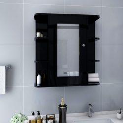 fekete MDF tükrös fürdőszobaszekrény 66 x 17 x 63 cm